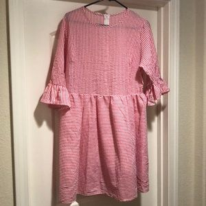 Dresses & Skirts - Pink and White Striped Seersucker Babydoll Dress